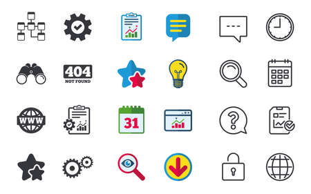 Website database icon. Internet globe and gear signs. 404 page not found symbol. Under construction. Chat, Report and Calendar signs. Stars, Statistics and Download icons. Question, Clock and Globe Illustration