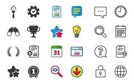 star award: First place award cup icons. Laurel wreath sign. Torch fire flame symbol. Prize for winner. Chat, Report and Calendar signs. Stars, Statistics and Download icons. Question, Clock and Globe. Vector Illustration