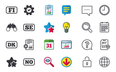 Language icons. FI, DK, SE and NO translation symbols. Finland, Denmark, Sweden and Norwegian languages. Chat, Report and Calendar signs. Stars, Statistics and Download icons. Vector Çizim
