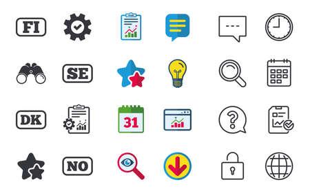 Taalpictogrammen. FI, DK, SE en NO vertaling symbolen. Finland, Denemarken, Zweden en Noorse talen. Chat-, rapport- en kalenderborden. Sterren, Statistieken en Download pictogrammen. Vector