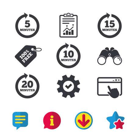 Elke 5, 10, 15 en 20 minuten iconen. Full rotatie pijl symbolen. Iteratieve proces tekens. Browservenster, Rapport en Service tekens. Verrekijkers, Informatie en Download iconen. Sterren en Chat. Vector Vector Illustratie