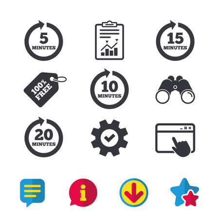 repetitive: Every 5, 10, 15 and 20 minutes icons. Full rotation arrow symbols. Iterative process signs. Browser window, Report and Service signs. Binoculars, Information and Download icons. Stars and Chat. Vector