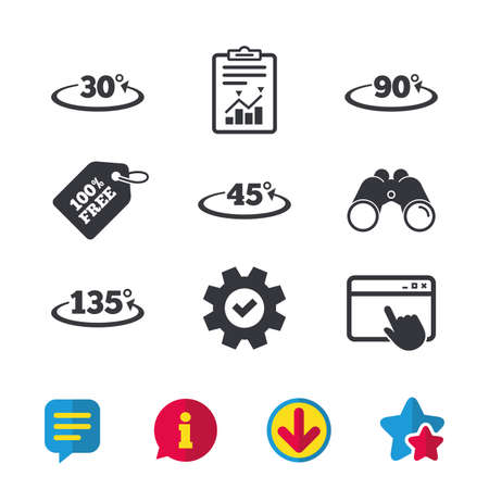 Angle 30-135 degrees icons. Geometry math signs symbols. Full complete rotation arrow. Browser window, Report and Service signs. Binoculars, Information and Download icons. Stars and Chat. Vector Illusztráció