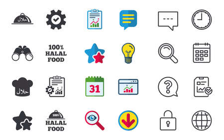 Halal food icons. 100% natural meal symbols. Chef hat sign. Natural muslims food. Chat, Report and Calendar signs. Stars, Statistics and Download icons. Question, Clock and Globe. Vector