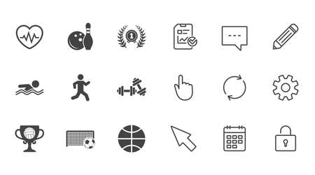 Sport games, fitness icons. Football, basketball and bowling signs. Swimming, runner and winner award symbols. Chat, Report and Calendar line signs. Service, Pencil and Locker icons. Vector