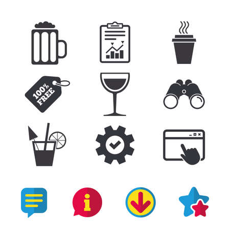 Drinks icons. Take away coffee cup and glass of beer symbols. Wine glass and cocktail signs. Browser window, Report and Service signs. Binoculars, Information and Download icons. Stars and Chat