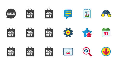 판매 할인 아이콘입니다. 특별 제안 표지판. 쇼핑 가방, 가격 태그 기호입니다. 달력,보고 및 다운로드 표지판. 별, 서비스 및 검색 아이콘. 통계, 쌍안 일러스트