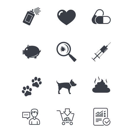 Veterinary, pets icons. Dog paws, syringe and magnifier signs. Pills, heart and feces symbols. Customer service, Shopping cart and Report line signs. Online shopping and Statistics. Vector