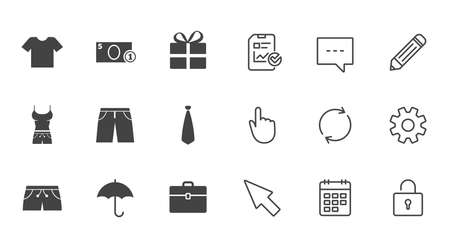 Clothing, accessories icons. T-shirt, business case signs. Umbrella and gift box symbols. Chat, Report and Calendar line signs. Service, Pencil and Locker icons. Click, Rotation and Cursor. Vector
