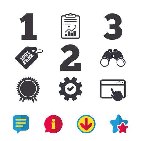 Primo, secondo e terzo posto icone. Medaglia del segno del premio. Finestra del browser, segnalazioni e segni di servizio. Binocoli, informazioni e icone di download. Stelle e chat. Vettore Archivio Fotografico - 80998133