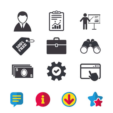 diplomat: Businessman icons. Human silhouette and cash money signs. Case and presentation with chart symbols. Browser window, Report and Service signs. Binoculars, Information and Download icons. Stars and Chat