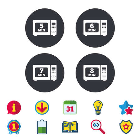 Microwave oven icons. Cook in electric stove symbols. Heat 5, 6, 7 and 8 minutes signs. Calendar, Information and Download signs. Stars, Award and Book icons. Light bulb, Shield and Search. Vector