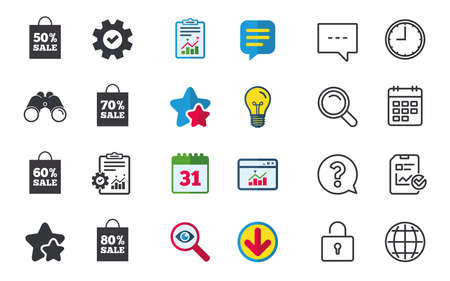 seventy: Sale bag tag icons. Discount special offer symbols. 50%, 60%, 70% and 80% percent sale signs. Chat, Report and Calendar signs. Stars, Statistics and Download icons. Question, Clock and Globe. Vector