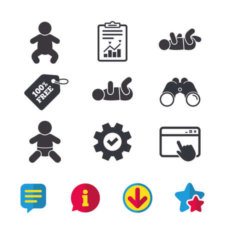 Newborn icons. Baby infant or toddler symbols. Child silhouette. Browser window, Report and Service signs. Binoculars, Information and Download icons. Stars and Chat. Vector Zdjęcie Seryjne - 80996639