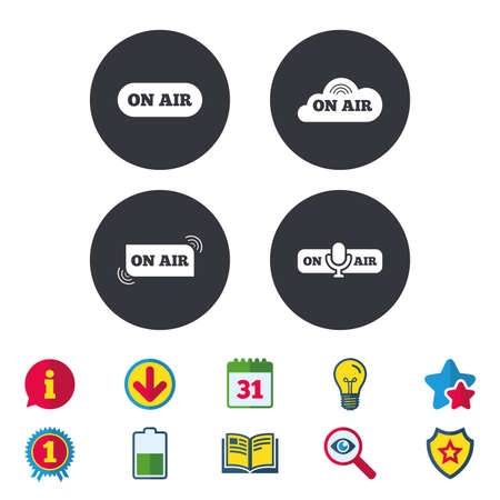 On air icons. Live stream signs. Microphone symbol. Calendar, Information and Download signs. Stars, Award and Book icons. Light bulb, Shield and Search. Vector