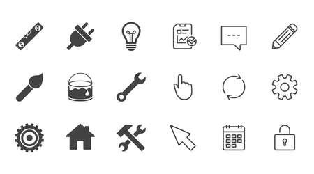 Reparatur, Bau Symbole. Hammer, Schlüsselwerkzeug und Zahnradzeichen. Stecker, Lampe und Haus Symbole. Chat-, Berichts- und Kalenderzeilen. Service-, Bleistift- und Schließfachikonen. Vektor Vektorgrafik