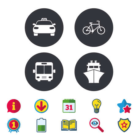 Transport icons. Taxi car, Bicycle, Public bus and Ship signs. Shipping delivery symbol. Family vehicle sign. Calendar, Information and Download signs. Stars, Award and Book icons. Vector
