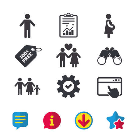 Family lifetime icons. Couple love, pregnancy and birth of a child symbols. Human male person sign. Browser window, Report and Service signs. Binoculars, Information and Download icons. Stars and Chat