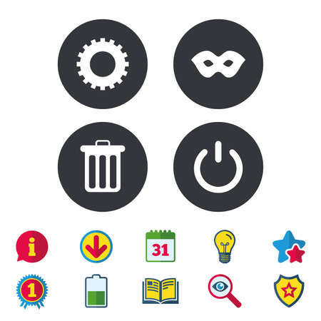 theatre masks: Anonymous mask and cogwheel gear icons. Recycle bin delete and power sign symbols. Calendar, Information and Download signs. Stars, Award and Book icons. Light bulb, Shield and Search. Vector