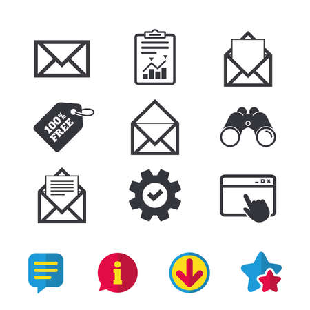 Mail envelope icons. Message document symbols. Post office letter signs. Browser window, Report and Service signs. Binoculars, Information and Download icons. Stars and Chat. Vector Ilustracja