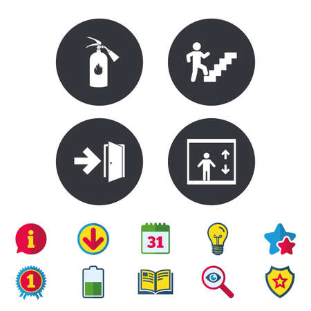 Emergency exit icons. Fire extinguisher sign. Elevator or lift symbol. Fire exit through the stairwell. Calendar, Information and Download signs. Stars, Award and Book icons. Vector