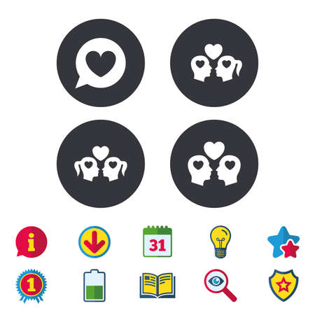 Couple love icon. Lesbian and Gay lovers signs. Romantic homosexual relationships. Speech bubble with heart symbol. Calendar, Information and Download signs. Stars, Award and Book icons. Vector Illustration