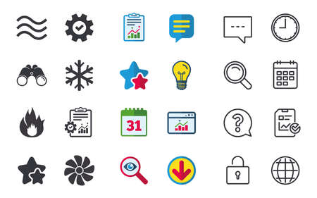 HVAC icons. Heating, ventilating and air conditioning symbols. Water supply. Climate control technology signs. Chat, Report and Calendar signs. Stars, Statistics and Download icons. Vector