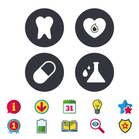 Mutterschaftsikonen. Pille, Zahn, Chemie und Herzzeichen. Blutspende-Symbol. Laborbirne mit Tropfen. Zahnpflege. Kalender, Information und Download-Zeichen. Sterne, Auszeichnung und Buch Symbole. Vektor Standard-Bild - 80996925