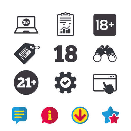 Adult content icons. Eighteen and twenty-one plus years sign symbols. Notebook website notice. Browser window, Report and Service signs. Binoculars, Information and Download icons. Stars and Chat