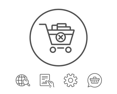 Remove Shopping cart line icon. Online buying sign. Supermarket basket symbol. Hold Report, Service and Global search line signs. Shopping cart icon. Editable stroke. Vector Ilustrace