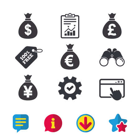 Money bag icons. Dollar, Euro, Pound and Yen symbols. USD, EUR, GBP and JPY currency signs. Browser window, Report and Service signs. Binoculars, Information and Download icons. Stars and Chat. Vector