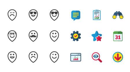 Smile-aanwijzers pictogrammen. Blij, verdrietig en knipoogt op tekenen. Zonnebrillen, snor en lachende lol smileysymbolen. Kalender, rapport en downloadborden. Pictogrammen voor sterren, service en zoeken. Vector Stock Illustratie
