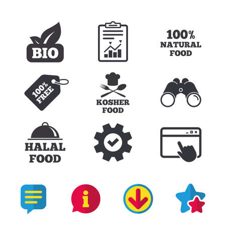 100% Natural Bio food icons. Halal and Kosher signs. Chief hat with fork and spoon symbol. Browser window, Report and Service signs. Binoculars, Information and Download icons. Stars and Chat. Vector