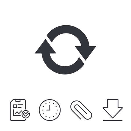 Rotation icon. Repeat symbol. Refresh sign. Report, Time and Download line signs. Paper Clip linear icon. Vector