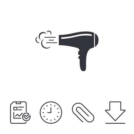 Haardroger teken pictogram. Haar drogende symbool. Blazende hete lucht. Aanzetten. Rapport-, tijd- en downloadlijnborden. Paperclip lineair pictogram. Vector