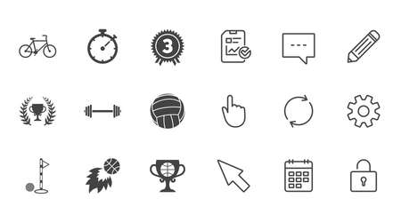 Sport games, fitness icons. Golf, basketball and volleyball signs. Timer, bike and winner cup symbols. Chat, Report and Calendar line signs. Service, Pencil and Locker icons. Vector