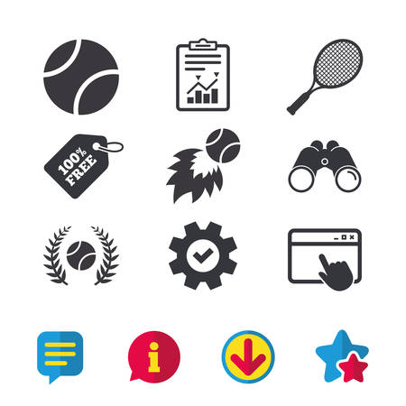 star award: Tennis ball and racket icons. Fast fireball sign. Sport laurel wreath winner award symbol. Browser window, Report and Service signs. Binoculars, Information and Download icons. Stars and Chat. Vector