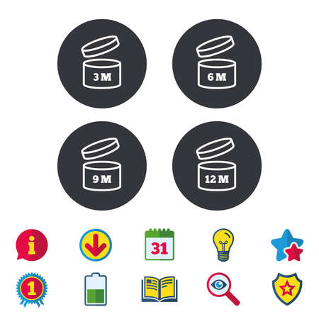 Na het openen gebruik pictogrammen. Vervaldatum 6-12 maanden producttekens symbolen. Houdbaarheid van boodschappenartikelen. Kalender, Informatie en Download tekens. Sterren, Award en Book iconen. Vector Stock Illustratie