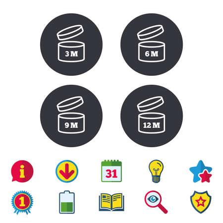 Nach dem Öffnen von Icons. Ablaufdatum 6-12 Monate Produktzeichen Symbole. Haltbarkeit des Lebensmittelgeschäfts. Kalender, Informationen und Download Zeichen. Sterne, Auszeichnung und Buchsymbole. Vektor Standard-Bild - 80914902