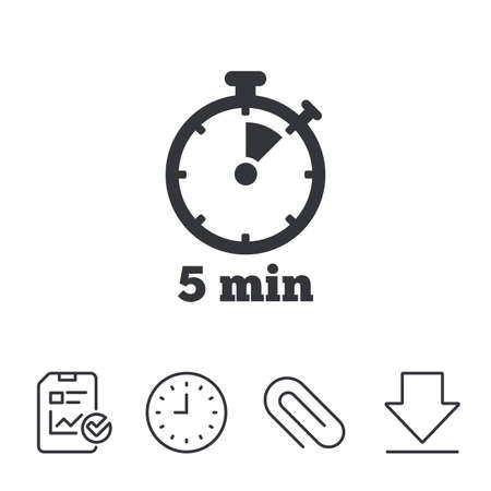 Timer sign icon. 5 minutes stopwatch symbol. Report, Time and Download line signs. Paper Clip linear icon. Vector
