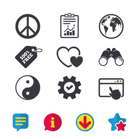 World globe icon. Ying yang sign. Hearts love sign. Peace hope. Harmony and balance symbol. Browser window, Report and Service signs. Binoculars, Information and Download icons. Stars and Chat. Vector 向量圖像
