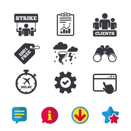 Strike icon. Storm bad weather and group of people signs. Delayed flight symbol. Browser window, Report and Service signs. Binoculars, Information and Download icons. Stars and Chat. Vector Stock Vector - 80996667