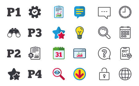 second floor: Car parking icons. First, second, third and four floor signs. P1, P2, P3 and P4 symbols. Chat, Report and Calendar signs. Stars, Statistics and Download icons. Question, Clock and Globe. Vector Illustration