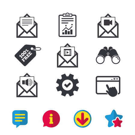 Mail envelope icons. Message document symbols. Video and Audio voice message signs. Browser window, Report and Service signs. Binoculars, Information and Download icons. Stars and Chat. Vector