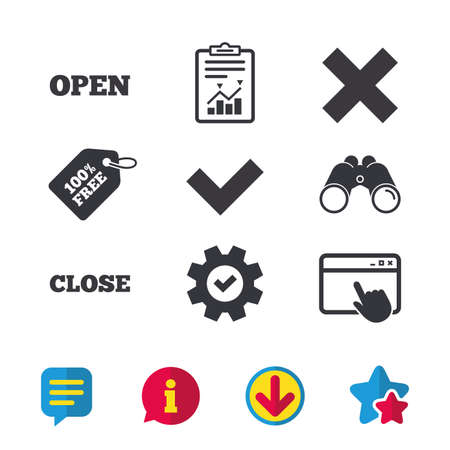 Open and Close icons. Check or Tick. Delete remove signs. Yes correct and cancel symbol. Browser window, Report and Service signs. Binoculars, Information and Download icons. Stars and Chat. Vector