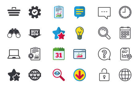 Online shopping icons. Notebook pc, shopping cart, buy now arrow and internet signs. WWW globe symbol. Chat, Report and Calendar signs. Stars, Statistics and Download icons. Question, Clock and Globe Stock Vector - 80998165