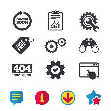 Coming soon rotate arrow icon. Repair service tool and gear symbols. Wrench sign. 404 Not found. Browser window, Report and Service signs. Binoculars, Information and Download icons. Stars and Chat