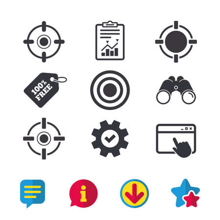 Crosshair icons. Target aim signs symbols. Weapon gun sights for shooting range. Browser window, Report and Service signs. Binoculars, Information and Download icons. Stars and Chat. Vector 向量圖像