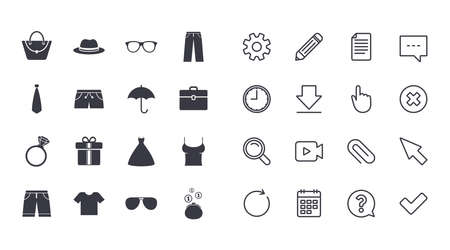 Set of Clothes, Accessories and Glasses icons. Shirt, Umbrella and Hat signs. Wallet, Handbag and Briefcase symbols. Calendar, Document and Download line signs. Pencil, Service and Search icons Ilustrace