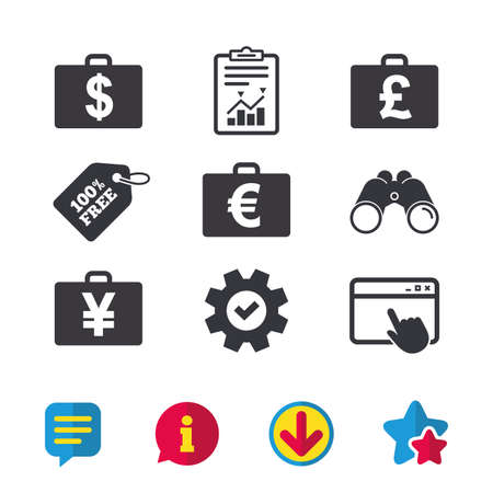 Businessman case icons. Cash money diplomat signs. Dollar, euro and pound symbols. Browser window, Report and Service signs. Binoculars, Information and Download icons. Stars and Chat. Vector 向量圖像